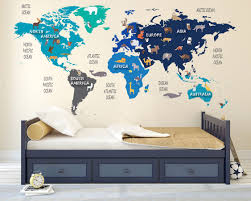 Colorful Animal World Map Decal Clear Vinyl Decal Kids Room Decals World Map Mural World Animal Kids Room Murals Kids Room Wall Decals Kids Room Decals