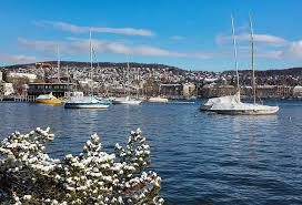 zurich, switzerland, view, city, lake zurich, lakeside, snow ...