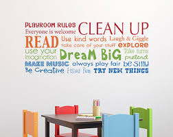 Playroom Rules Decal Etsy