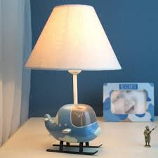 Coolie Shade Standing Table Light With Airplane Base Boys Bedroom Fabric 1 Bulb Table Lamp In White Susuohome Com