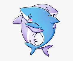 mq pink blue sharks hugs cartoon