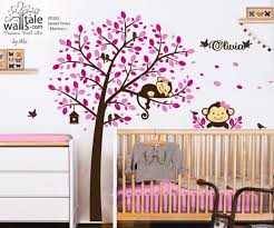 Forest Tree Decal With 2 Monkeys Birds And Name Decal For Nursery Kids Room Playroom Wall S Tale Wall Decals Turkey