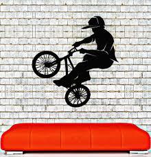 Vinyl Wall Decal Bike Bmx Biker Teenager Room Extreme Sports Stickers 015ig Bmx Vinyl Wall Decals Vinyl Wall