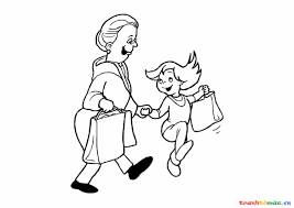 Hình tô màu hai bà cháu dắt tay nhau đi shopping