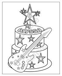 Gepersonaliseerde Afdrukbare Rockstar Taart Verjaardag Partij Etsy