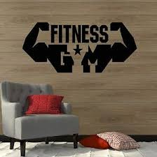Gym Fitness Sports Wall Decal Vinyl Stickers Bodybuilding Muscles Ig3078 Ebay