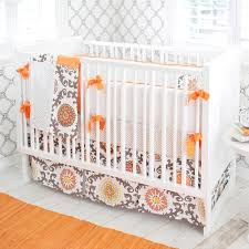 girl nursery bedding orange gray and