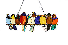 tiffany style stained glass birds