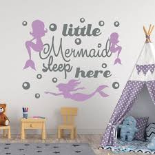 Quote Wall Decal Kids Room Decor Little Mermaid Sleep Here Etsy