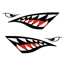 Zupayipa 2 Pcs Shark Teeth Mouth Decals Sticker For Fishing Boat Canoe Car Truck Kayak Graphics Accessories Wat Kayak Decals Kayak Stickers Reflective Decals