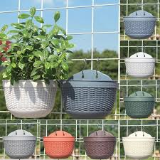 Wall Hanging Flower Pots With Metal Hook Garden Fence Balcony Basket Plant Pot Planter Decor Wish