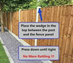 Fence Panel Noise Stoppers Stops Rattling Banging In Wind Wedge Clips X 10 Ebay