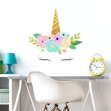 Amazon Com Glitter Unicorn Horn Wall Decal Regular Size Girl S Room Decor Wall Stickers Baby