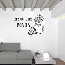 Amazon Com Movie Wall Art Let S Go To The Movies Wall Decal With Popcorn Bag And Tickets Vinyl Wall Decoration For Home Office Theater Handmade