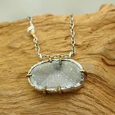 dainty oval druzy pendant necklace