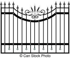 Gate And Fence Vector In Black Color
