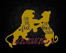 Can You Feel The Love Tonight Lion King Simba Nala Vinyl Decal Diy Iron On Car Decal Silhouette Sticker By Kgdesign Diy Disney Shirts Vinyl Decal Diy Lion King