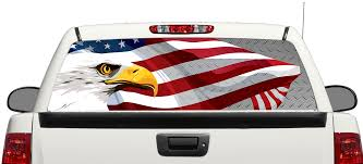 Product American Eagle Usa Flag Steel Rear Window Decal Sticker Pick Up Truck Suv Car 3