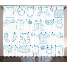 Kids Boys Curtains 2 Panels Set Drying Baby Clothes Socks Sweater Dress Pants And Skirt Hand
