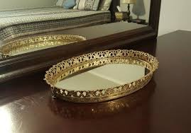 oval wall or vanity dresser mirror tray