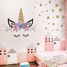 Cute Cartoon Unicorn Stickers Kids Room Wall Decor Golden Dots Pattern Baby Girl Boys Bedroom Decorative Sticker Paintings W120 Wall Stickers Aliexpress