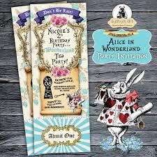Alice In Wonderland Ticket Invitation Printable File