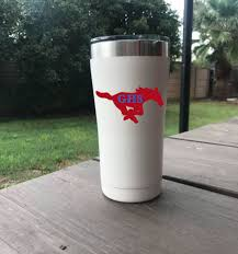 Grapevine High Mustangs Travel Mug With Lid 20 Oz Vinyl Decal Double Wall Insulated Mugs Grape Vines Travel Mug