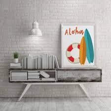 Surf Decor Aloha Surfboard Printable Wall Art Hawaiian Decor Etsy
