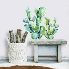 Roommates Watercolor Cactus Peel And Stick Giant Wall Decals Rmk3651gm The Home Depot
