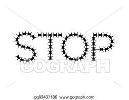 Vector Art Stop Of Barbed Wire Letters Of Fencing Eps Clipart Gg89437186 Gograph