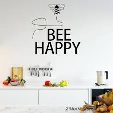 Bee Happy Wall Sticker Home Decor Living Room Waterproof Kitchen Decoration Decals Vinyl Wall Decal Bedroom Creative Mural 008 Vinyl Wall Decals Wall Stickerwall Decals Aliexpress