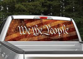 We The People Distressed American Flag Rear Window Graphic Decal Miller Graphics