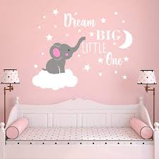 Amazon Com Dream Big Little One Elephant Wall Decal Quote Wall Stickers Baby Room Wall Decor Vinyl Wall Decals For Children Baby Kids Boy Girl Bedroom Nursery Decor Y42 Soft Pink White Girl Home