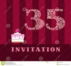 La Invitacion Por 35 Anos Torta Con Las Frambuesas Vector