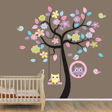 Amazon Com Owl Decor Animal Tree Wall Decal Removable Jungle Owl Wall Decor Sticker Vinyl Wall Art Mural Wallpaper For Kids Room Decor 78ab Baby