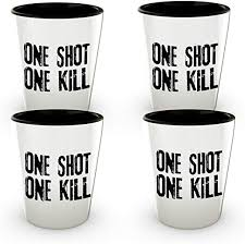 one shot one kill shot glass set