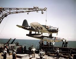 File:OS2N-1 is placed on catapult of USS Missouri (BB-63) in 1944 ...