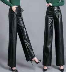 casual wide leg pants pu leather pants