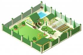 Premium Vector Private House Yard With Plot Of Land Behind High Fence Isometric 3d Illustration