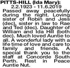 PITTS-HILL Ida | Obituaries | The West Announcements