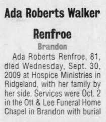 Obituary for Ada Roberts Walker Renfroe (Aged 81) - Newspapers.com