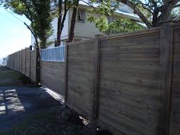 Horizontal Treated Pine Fence Stained With Exposed 6x6 Posts Wood Fence Wood Fence Installation Fence Design