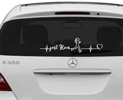 Just Run Heartbeat Runner S Vinyl Decal Sticker Running Etsy Vinyl Decals Car Decals Car Window Stickers