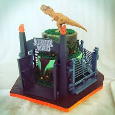 Jurassic World Cake Fondant Cake With Buttercream Piping 8 And 6 Inch Store Bought Fence A Jurassic World Cake Jurassic Park Birthday Dinosaur Birthday Party