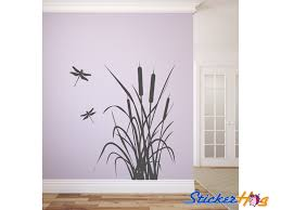 Dragonfly And Cattails Vinyl Wall Decal Graphics