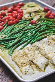Mediterranean Baked Halibut w/ Veggies ...