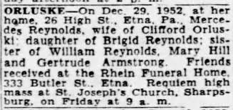 1952 Death notice Mercedes Reynolds Orluske. - Newspapers.com