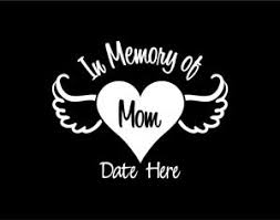 In Memory Of Mom Heart With Angel Wings Custom Vinyl Window Decal Sticker Ebay