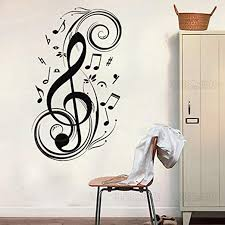 Amazon Com Colorfulhall 23 6 X 47 2 Black Removable Wall Sticker Large Music Notes Wall Decals Mural Diy Vinyl Wall Sticker Wall Art Room Home Home Kitchen