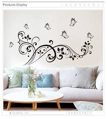 Black Butterfly Flower Vine Wall Stickers Vinyl Diy Wall Decals For Living Room Bedroom Sofa Blackground Wall Kids Room Decor Wall Decals Wall Stickerroom Decoration Aliexpress